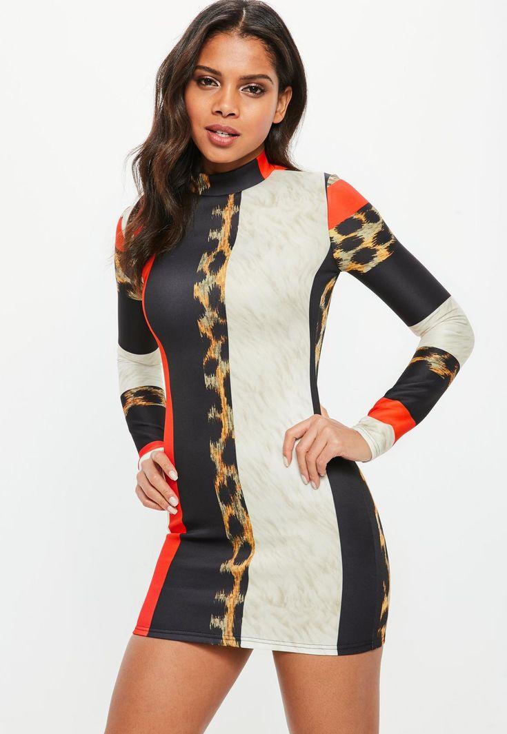 Missguided - Black Scuba High Neck Long Sleeve Animal Print Bodycon Dress