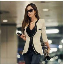 2016 Mulheres Blazer Com Decote Em V Sexy Magro Casual Blazer e Casacos OL Casacos Manga Comprida Black White One Button brasão feminino(China (Mainland))