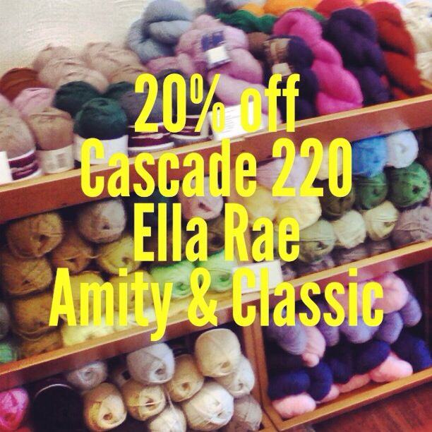 20% off Cascade 220 and Ella Rea (Amity & Classic), while supplies last, on in-stock only, cash appreciated. #yarnsbydesign #pittsburgh #oakmont #sale #yarnporn #knit #crochet
