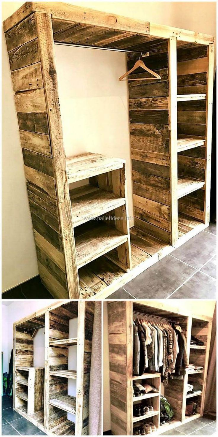 Now become a carpenter and craft these wonderful wood pallet projects on your own. These DIY motive wardrobe plans are simple and handicrafts to construct for the renovation of your home as well as to fulfill your storage needs in an economical way. The amazing thing in useless wood pallets is that they provide us