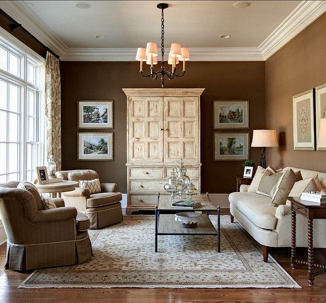 "Living Room :: Paint Color: Walls:""SW6103 Tea Chest"". Ceiling: ""Sherwin Williams 6119 Antique White"". Crown Molding: ""BM OC-17 White Dove""."