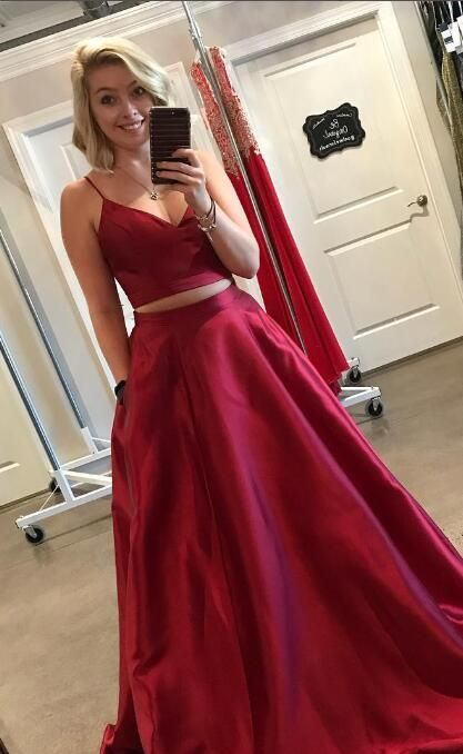 Two Piece Straps Red Long Prom Dress with Pockets from modsele ...