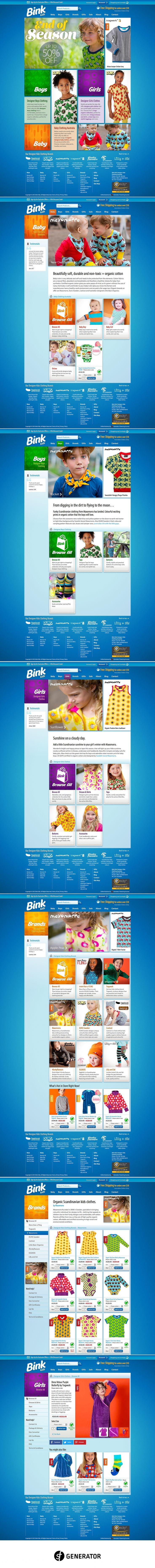 Web design and development of the Bink Kids website and online store using the Adobe Business Catalyst Content Management System (CMS). Bink Kids offers a large range of bright, colourful organic cotton clothing from brands across Scandinavia, Europe and beyond. Their mission is to provide fun, age appropriate and quality clothing for boys, girls and baby. SF Generator produced a website that met this challenge by providing a magazine style layout for the website and store. It puts this…