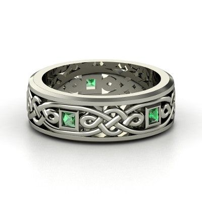 Men's Sterling Silver Ring with Emerald  - maybe for our anniversary one year.