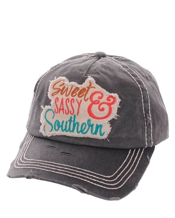Sweet Sassy & Southern Distressed Baseball Cap Hat Black