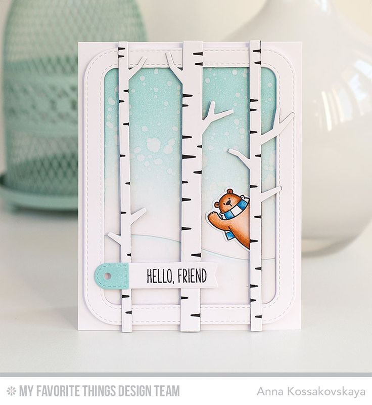 Polar Bear Pals Stamp Set and Die-namics, Birch Trees Die-namics, Solid Birch Trees Die-namics, Stitched Rounded Rectangle Frames Die-namics, Snow Drifts Die-namics, Tag Builder Blueprints 6 Die-namics - Anna Kossakovskaya  #mftstamps
