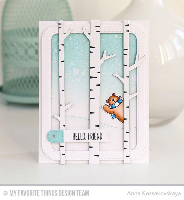 Polar Bear Pals Stamp Set and Die-namics, Birch Trees Die-namics, Solid Birch Trees Die-namics, Stitched Rounded Rectangle Frames Die-namics, Snow Drifts Die-namics, Tag Builder Blueprints 6 Die-namics - Anna Kossakovskaya  #mftstamps