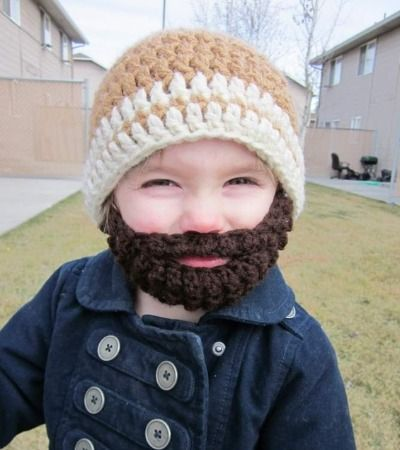 Adorable lumberjack hat, complete with beard!