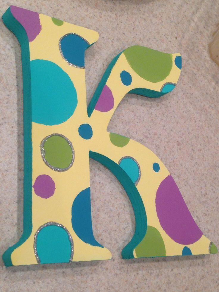 "Polka dot painted wooden letter ""K"" craft"