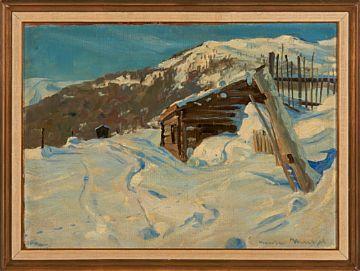GUSTAV WENTZEL CHRISTIANIA 1859 - LILLEHAMMER 1927  Vinterstemning Olje på lerret, 50x69 cm Signert nede til høyre: Gustav Wentzel