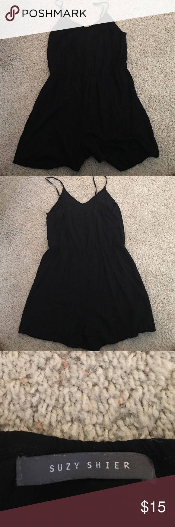 Women's Black Romper Women's Black tank Romper. Synched at the waist. Adjustable straps. Size L Suzy Shier Pants Jumpsuits & Rompers