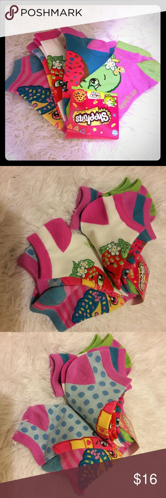 Shopkins socks for Girls 5 pairs of different characters from Shopkins...all with different colors and designs..super cute for your favorite little #SPK Lover...size is tagged for Girls size 6-8.5...SO even your favorite adult could ROCK theses yummy ADORABLE socks...what a great excuse to wear the cuties trendy socks...what's not to love..any questions please feel free to ask! ....#Shopkins #socks #SPK #girl #adult #collectables Shopkins Accessories Socks & Tights