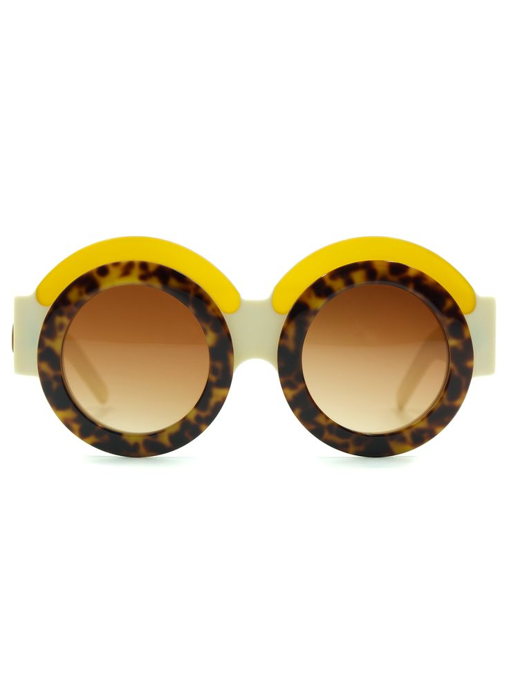 ivory round sunglasses in amber fakoshima not just a label