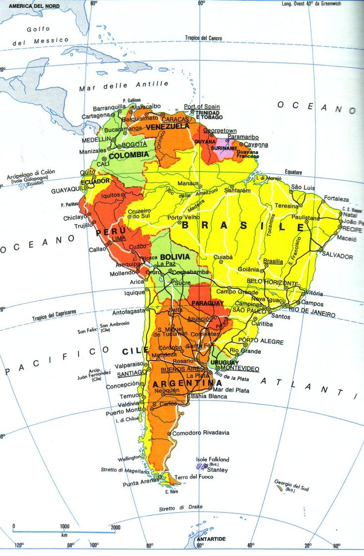 Mapa fisico America de Sur