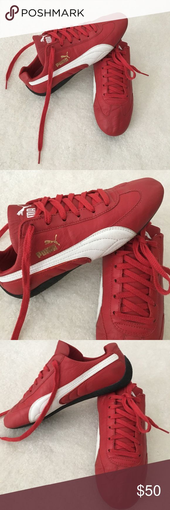 Puma Red Leather Sneakers Price is firm! Classic Puma Leather Sneakers. Fits more like a size 7. I'm between 7 - 7.5 and it fits me perfectly. Excellent condition! Puma Shoes Sneakers
