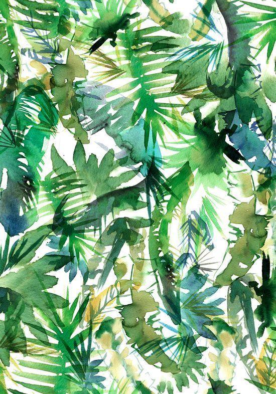 Watercolour tropical palms wallpaper