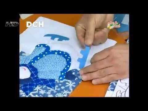 Cuadro Navideño con la técnica Patchwork sin agujas - YouTube