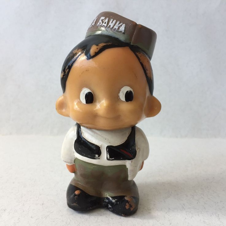 In the 1960s, in Yugoslav socialist society appeared rubber dolls, a boy and a girl, in folk costumes - piggy banks, named Stanimir /boy/ & Stanimirka /girl/. The coins can be insert through the slit of Stanimir's folk cap. | eBay!