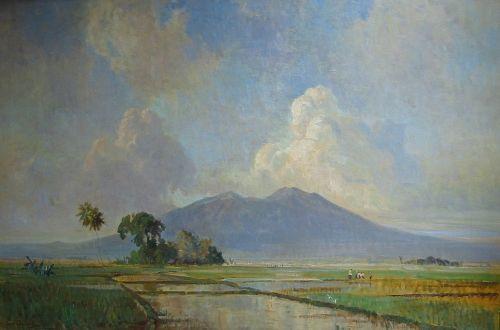 Ernest Dezentje - Penemdagan Sawah (Vulkaanlandschap met sawa`s op de voorgrond)