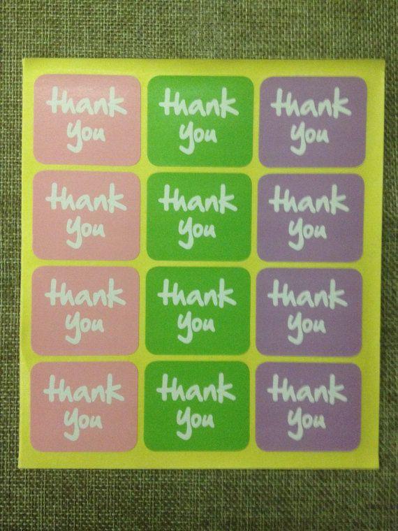 etichette adesive thank you di rainbowshopCo su Etsy