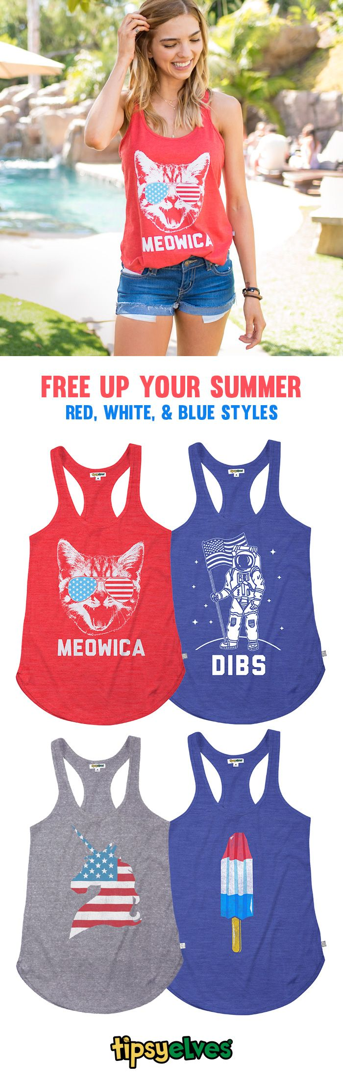 Love of country may be a concept that means different things to different people, but everyone can agree that wearing a stylish depiction of the flag is pretty patriotic. Our women's American flag clothing presents dozens of ways to stay true to the red, white, and blue—while looking fantastic. So Free up your Summer with patriotic tanks, swimsuits, rompers, dresses and more!