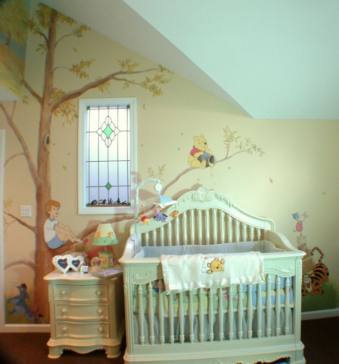 25 best ideas about winnie the pooh nursery on pinterest for Baby mural ideas