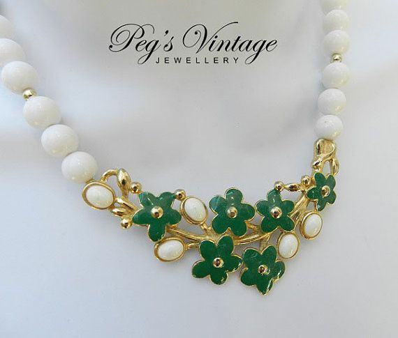 Beautiful Vintage Enamel Flower & Bead Necklace by PegsVintageShop