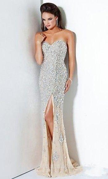 Mermaid Champagne Prom Dresses Strapless Long Prom Dresses 05272