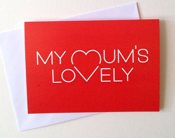 Mum Card Mothers day card Lovely Mum card cute by helloDODOshop