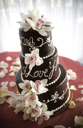 Design /  Cake by Pastries By Nancy and Photo by Vanessa Stump  .... chocolate flowers, love the lettering <3