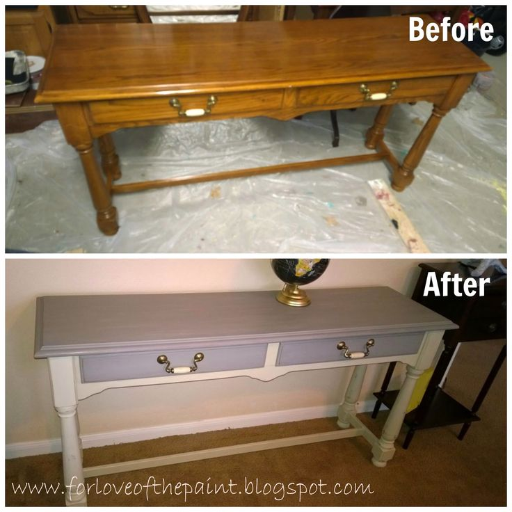 Before and After : Thomasville Sofa Table in Annie Sloan Country Grey and French Linen #morethanpaint #chalkpaint by For Love of the Paint