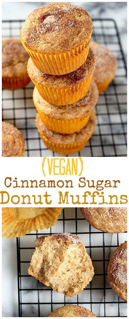 Vegan) Cinnamon Sugar Doughnut Muffins | Recipe | Doughnut muffins ...