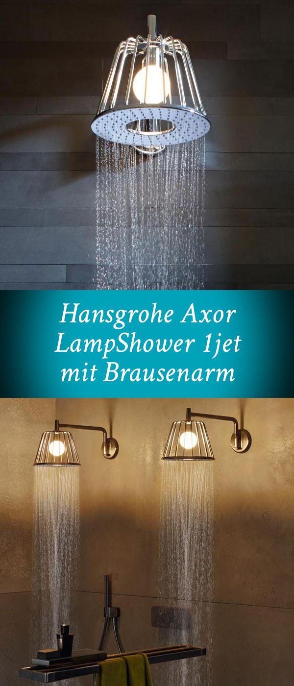 Hansgrohe Axor LampShower 1jet: Die Kopfbrause ist genau das Richtige für Designfans. Neben der komfortablen Strahlart Rain, die für einen luftigen Wasserregen sorgt, besticht diese Kopfbrause durch eine integrierte Beleuchtung oberhalb der Strahlscheibe. So haben Sie beim Duschen stets angenehmes Licht! #dusche #kopfbrause #bad #badezimmer #design #leuchte #badlampe #beleuchtung #hansgrohe #axor #interior #lampshower #badezimmerleuchte #leuchteimbad #reuter #reuterde