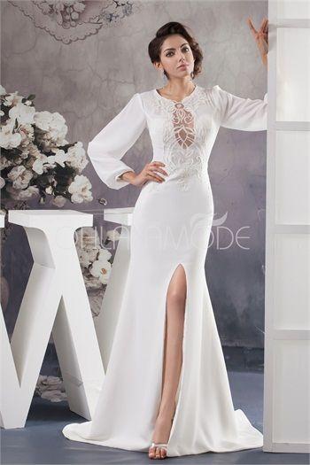 Robe de mariée pas cher blanche élégante avec manches longues en satin de soie