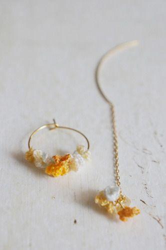 crochet earrings by cotoyo matsue