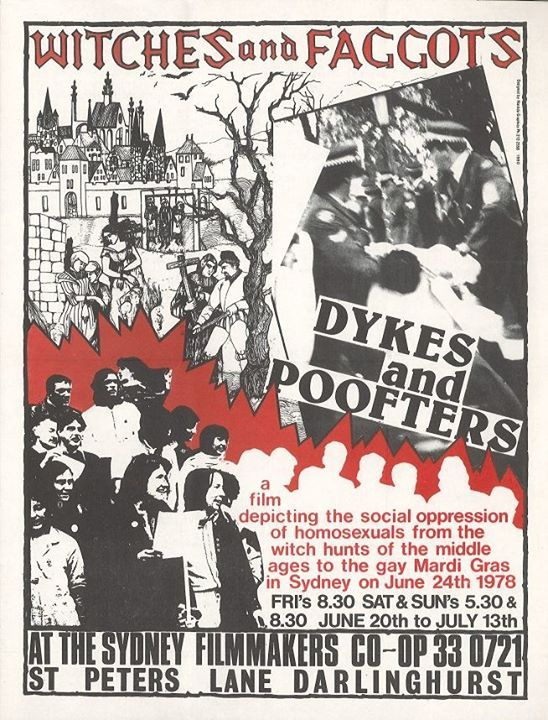Witches and Faggots, Dykes and Poofters (1979), screening at Sydney Filmmakers Cooperative, 1980, Ephemera Collection, Australian Lesbian and Gay Archives (ALGA)