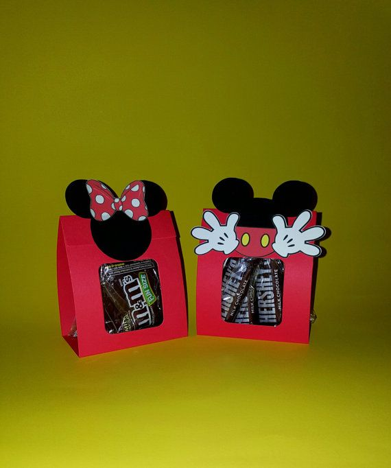 12 Minnie and Mickey Mouse Treat Wraps - Favor Bags  - DIY Kit