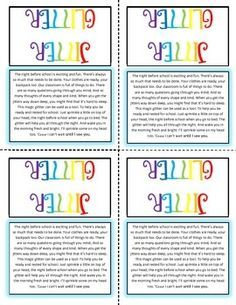 jitter glitter poem printable - Google Search