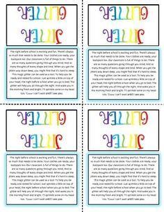 jitter glitter poem printable - Google Search