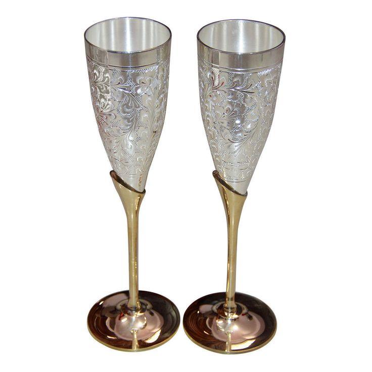 Indian Handmade Silver Gold Plated Coated Brass Wine Goblet Glass Set of 2 PCS #Handmade #ebay #ebaystore #wineglass #winegoblet #glassset #gobletset