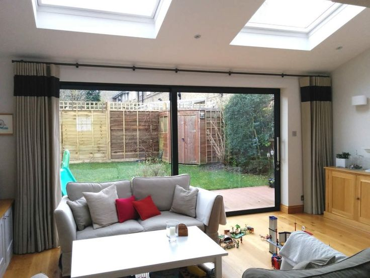 curtain ideas for bifold doors - Google Search                                                                                                                                                      More