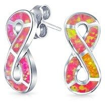Bling Jewelry 925 Silver Synthetic Pink Opal Stud Infinity Earrings Rhodium Plated.