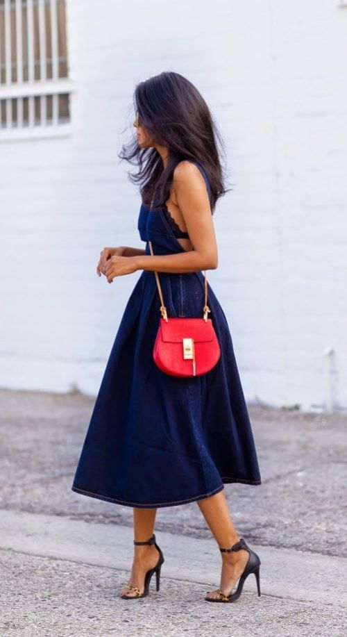 Dark Denim Midi Dress, Black Lace Bralet, Black & Leopard Print High Heel Sandals, Bright Red Crossbody Bag, Windswept Hair