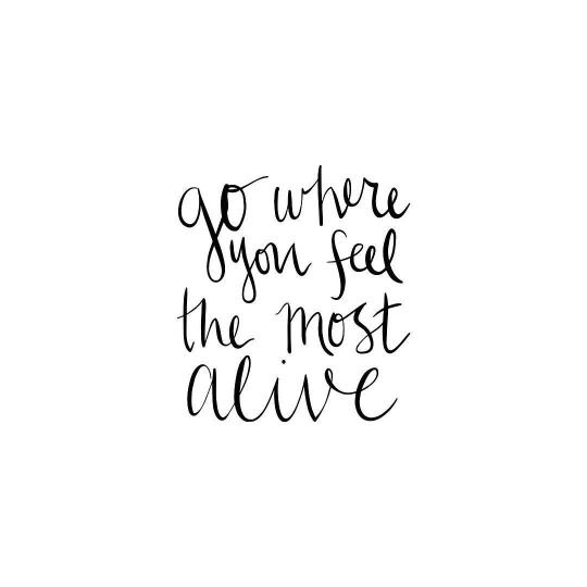 Go where you feel the most alive...