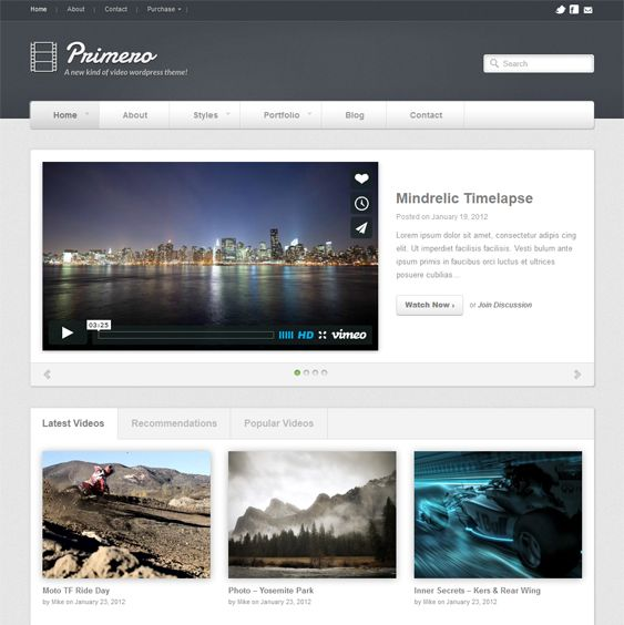 This video WordPress theme features unlimited color schemes and portfolios, 3 featured sliders, a clean design, localization support, social media widgets, 4 navigation styles, easy customization, and more.