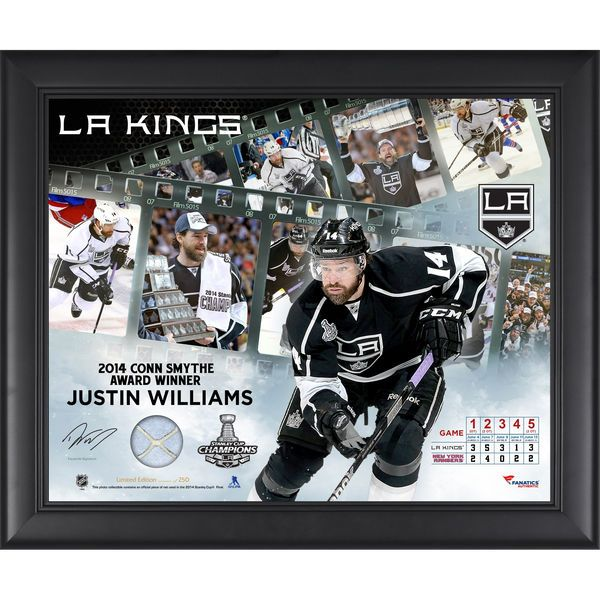 "Los Angeles Kings Justin Williams Fanatics Authentic Framed 16"" x 20"" 2014 Stanley Cup Champions Conn Smythe Winner Framed Filmstrip Composite with Piece of Stanley Cup Used Net-Limited Edition of 250"