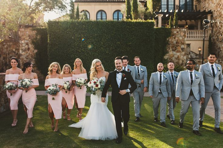 Love this pink and grey bridal party look!