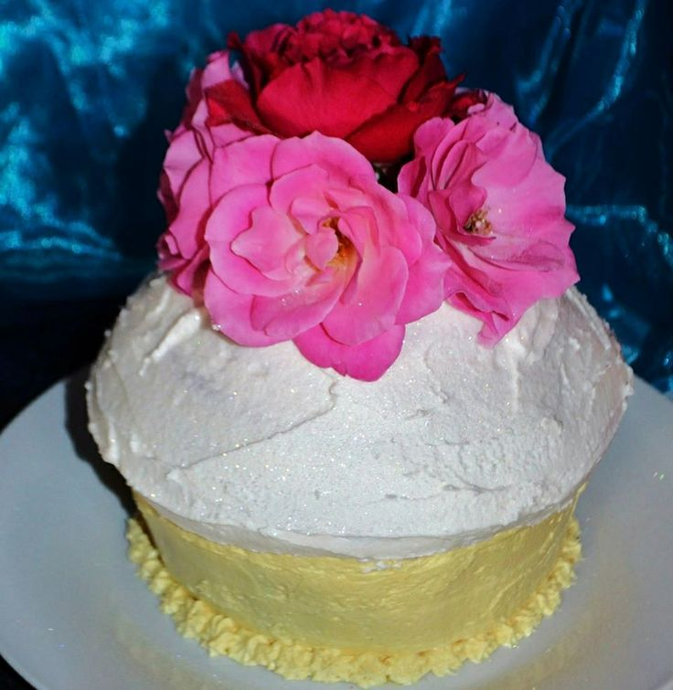 Giant pink and yellow cupcake