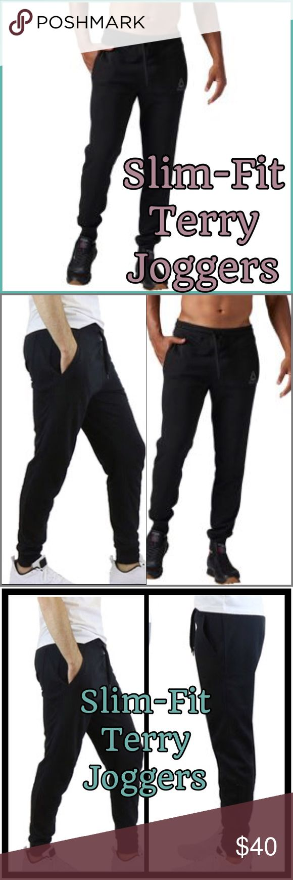 🎄Slim-fit joggers comfortable lounge & relaxing These slim-fit joggers are a comfortable outfit for jogging, lounging, or relaxing at home. Men's Slim-Fit French Terry Joggers 👍Great for lounging, the gym, and everyday wear 👍French terry knit 👍Elasticized waistband and cuffs 👍Drawstring for preferred comfort 👍2 side functional pockets 👍Materials: 60% cotton, 40% polyester 👍Machine wash cold.                                               💥💥Top seller, super fast shipping, Posh…