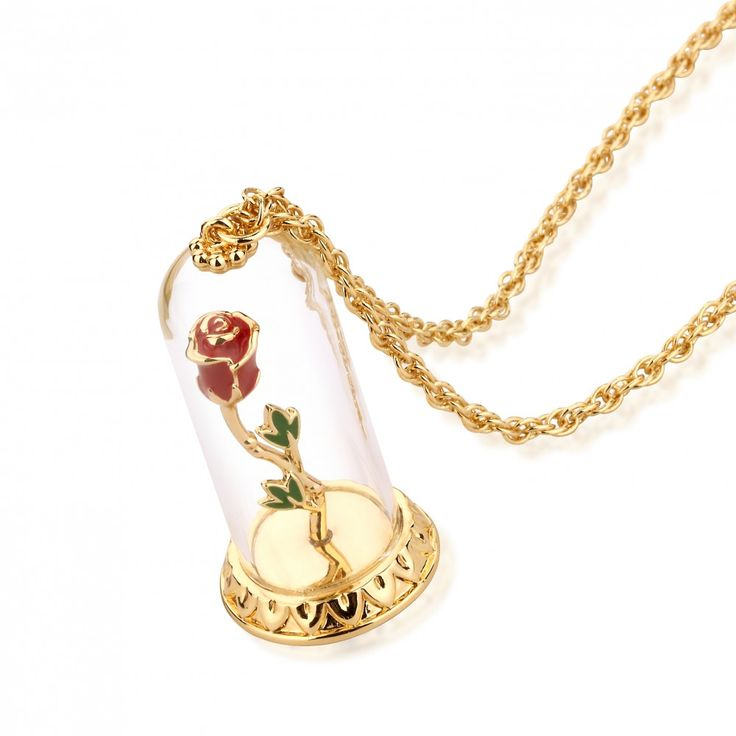Disney Couture Beauty & the Beast Gold-Plated Enchanted Rose in Glass Bell Jar Necklace